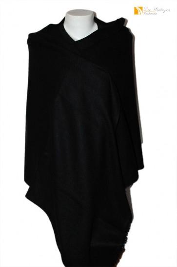 Cashmere 8 Ply Black Color Stole